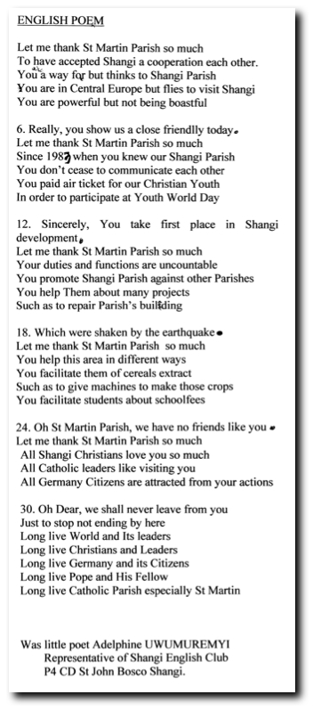 English Poem of St. Martin Parish