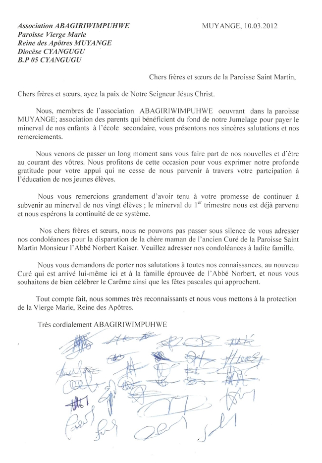 Message venant de l'Association ABAGIRIWIMPUHWE